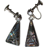 Great Mexican Stelring and Abalone Mayan Earrings
