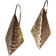 Great Pair Textured 14k Gold Diamond Shaped Earrings
