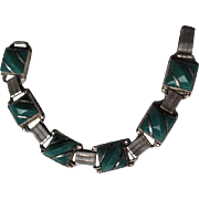 Fabulous Mexican Sterling and Jade Link Style Bracelet