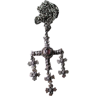 Fabulous Mexican Sterling Silver and Amethyst Cross Pendant Necklace