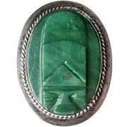 "Mexican Sterling Silver and Jade ""Mayan"" Pin or Brooch"