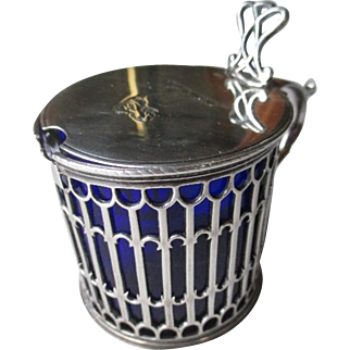 1771 English Sterling Silver Mustard Pot with Cobalt Blue Liner