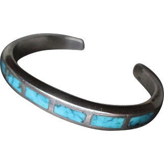 Unmarked Silver and Inlaid Turquoise Cuff Style Bracelet