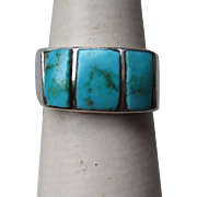 Unmarked Silver and Inlaid Turquoise Ring