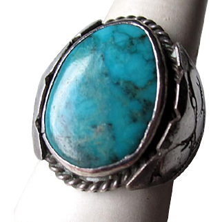 Unmarked Stamped Silver and Turquoise Ring