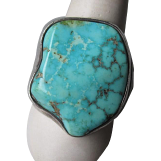 Large Unmarked Silver and Turquoise Ring