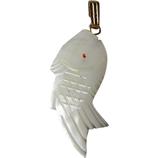 Fun Carved Mother of Pearl Fish Pendant