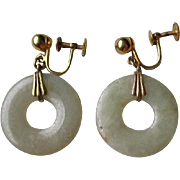 Fabulous 12kgf and Jade Earrings