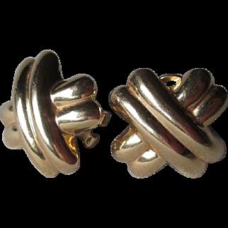 """Beautiful 14k Gold """"X"""" Style Earrings"""