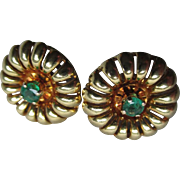 Gorgeous 18k Gold and Emerald Earrings