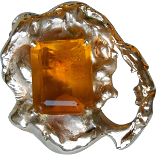 Stunning Free Form 14k Gold and Citrine Pendant