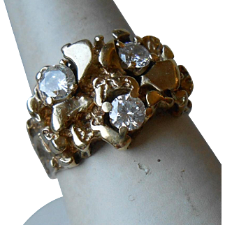 Gorgeous 14k Gold and Diamond Nugget Style Ring