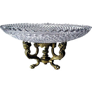 Stunning Pairpoint Compote with Cut Crystal Tray