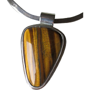 "Great ""Castillo"" Mexican Stelring Silver and Tiger Eye Pendant Necklace"
