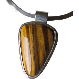 """Great """"Castillo"""" Mexican Stelring Silver and Tiger Eye Pendant Necklace"""
