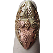 Fabulous 10k Black Hills Gold Ring - Grape Pattern