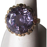 Gorgeous 14k Gold and Synthetic Alexandrite Ring