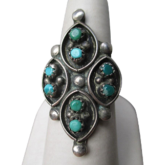 Fabulous Unmarked Silver and Turquoise Snake Eye Ring