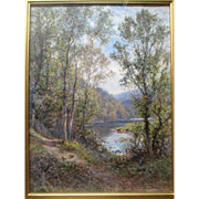 "Original ""Alfred Augustus Glendening Sr (1840-1910)"" English Landscape Oil Painting"