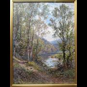"Original ""Alfred Augustus Glendening Sr (1840-1910)"" English Landscape Oil Painting"