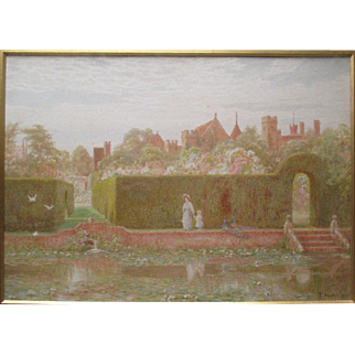 """Thomas Henry Hunn (1857-1928)"" Original Watercolor Painting - Penshurst Castle Gardens"