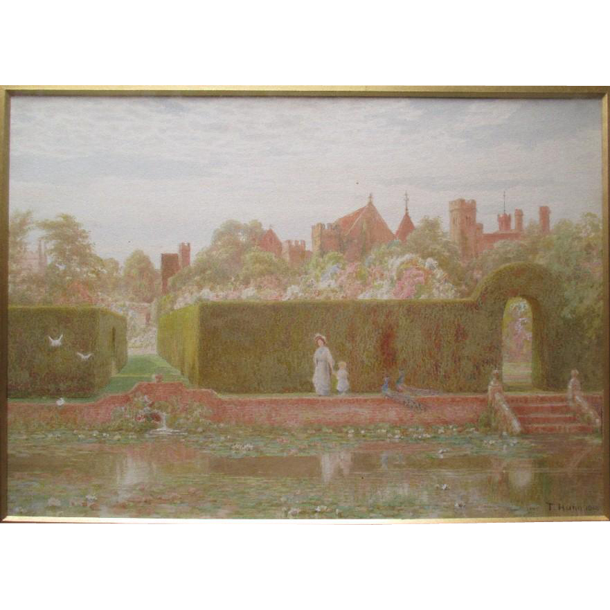"""Thomas Henry Hunn (1857-1928)"" Original Watercolor Painting - Penshurst Castle Gardens"
