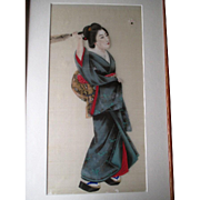 Original Hand Painted Japanese Geisha Girl Painting on Silk