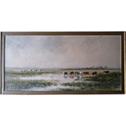 "Original Watercolor by ""Hugo Anton Fisher (1854-1916)"" - Cattle in the Marsh"