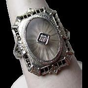 14k Gold Camphor Glass and Diamond Filigree Ring