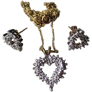 Beautiful 10k Gold and Diamond Heart Pendant with Matching Earrings