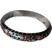 Great Asian Enamel Flower Bangle Bracelet