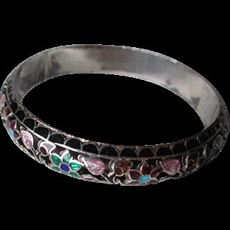 Great Asian Enamel Flower Bangle Bracelet