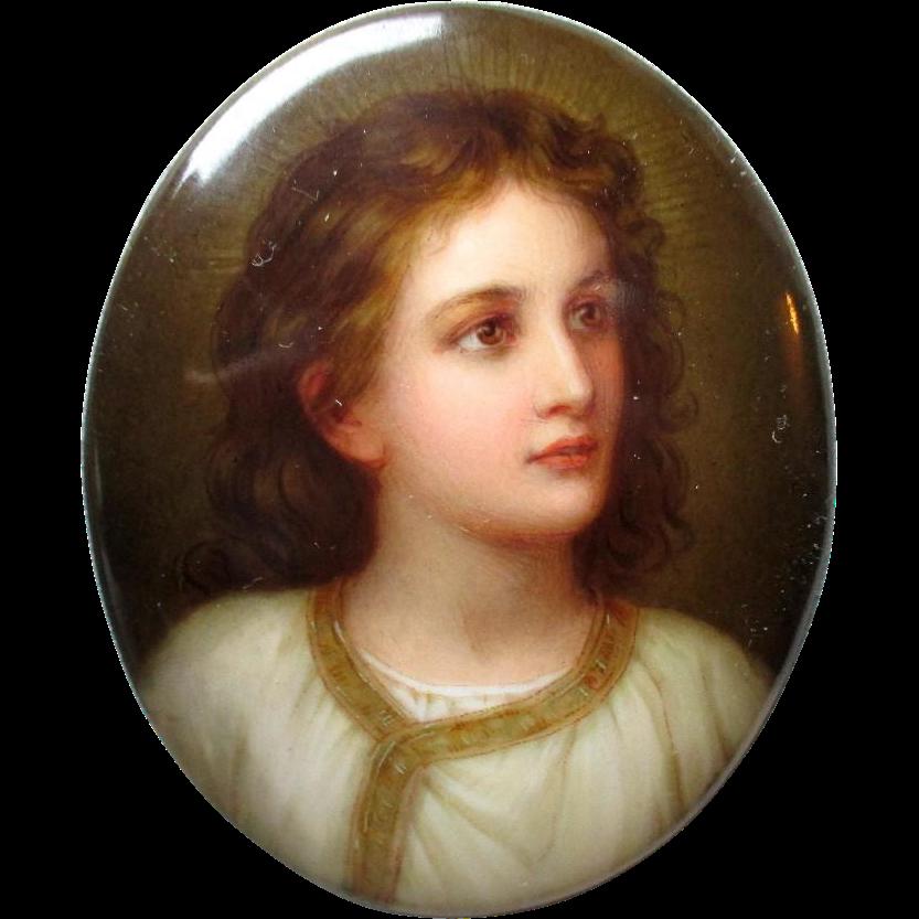 "Gorgeous ""Firenze"" Painted Porcelain Plaque - Signed"