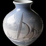 Stunning Large Bing & Grondahl Vase with Racing Sailboats