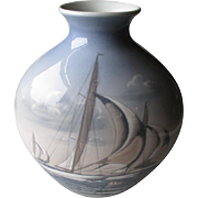 Stunning Large Bing & Grondahl Vase with Racing Sailboats
