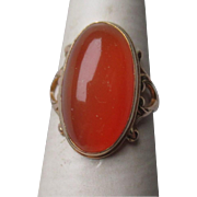 Beautiful 10k Gold and Cabochon Mexican Fire Opal Ring
