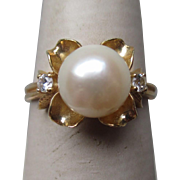 Great 14k Gold and Pearl Ring with Diamonds