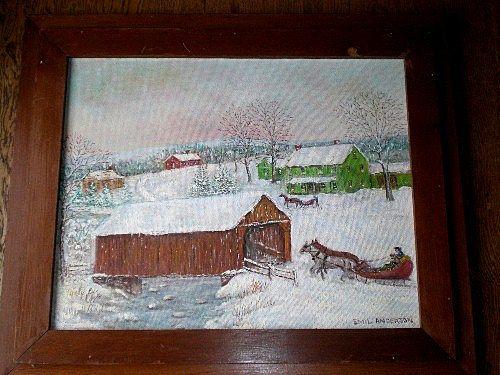Original Vintage Folk Art Oil Painting - Covered Bridge