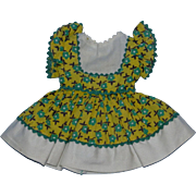 1950's Ideal P90 Toni Pinafore Cotton Print Dress with Butterfly Sleeves and Attached Panty!