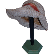 Natural Taupe Colored Straw Hat with rust colored hat band for your French or German Bebe~