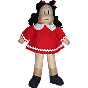 "1944 Georgene Novelties 15"" Little Lulu Cloth Comic Strip Character Doll All Original!"
