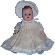"Precious 1950's Madame Alexander 11"" Hard Plastic and Cloth Baby Doll!"