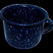 Vintage Dark Blue & White Speckled Granite Ware Enamel Metal Ware Cup