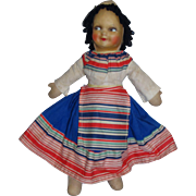 "Vintage 1930's Mollye 15 1/2"" Cloth Doll with Side Glancing Eyes in Colorful Original Outfit!"