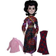 "1972 Hasbro 18"" Aimee Doll in Tagged Maxi Mod Dress with Extra Bell Bottom Pants and Top!"