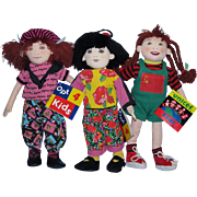 3 RARE Opt 4 Kids Stuffed Cloth Dolls by Determined Productions 1993 includes Colette, Mei and Tanya!