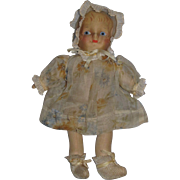 "Sweet and Adorable 1930's  Cabinet Size 10"" Cloth Doll All Original with Ruffled Bonnet!"