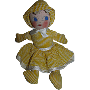 "Adorable 1950's 10"" Cloth Doll with original yellow cotton plisse outfit!"
