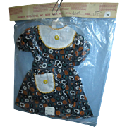 "Vintage 1950s Premier Cotton Print Dress for 18-19"" Dolls Mint in Package and NRFP (Never Removed From Package)"
