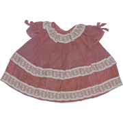 Sweet vintage Rose Pink and Lace Crepe Dress for your vintage doll!